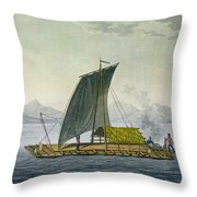 A Raft Leaving The Port Of Guayaquil Throw Pillow