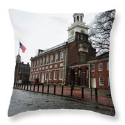 A Rainy Day At Independence Hall Throw Pillow