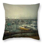 A Rainy Evening On The Port Throw Pillow
