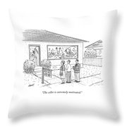 A Realtor Speaks To A Couple About A House Throw Pillow