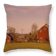A Red Barn  Throw Pillow