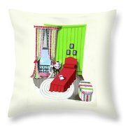 A Red Bed In A Bedroom Throw Pillow