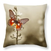 A Red Butterfly On The Moody Field Throw Pillow