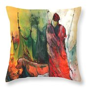 A Red Dog In Morocco Throw Pillow