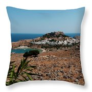 A Red Flower To Lindos Throw Pillow
