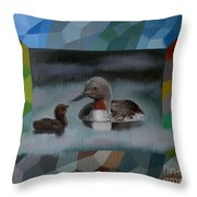 A Red-throated Diver And The Chick Throw Pillow