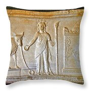 A Relief In Bergama Museum-turkey Throw Pillow