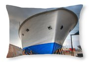 a resting boat in Jaffa port Throw Pillow