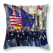 A Revolutionary Battalion Marching In The 2009 New York St. Patrick Day Parade Throw Pillow