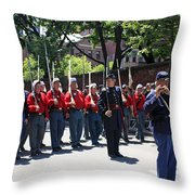 A Revolutionary Battalion Marching In The St. Patrick Old Cathedral Parade Throw Pillow