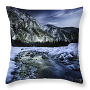 A River Flowing Through The Snowy Throw Pillow