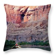 A River Guide Rowing A Wooden Dory Throw Pillow