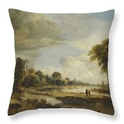 A River Landscape With Figures And Cattle Throw Pillow