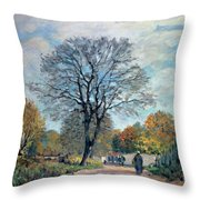 A Road In Seine-et-marne, 1878 Throw Pillow