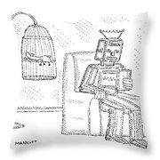A Robot Sits Reading In A Chair Throw Pillow