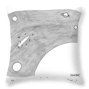 A Rocket Shoots Through Space With Music Notes Throw Pillow