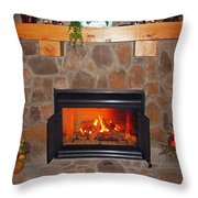 A Room With A Fireplace Throw Pillow