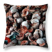 A Rooster And His Coconuts Throw Pillow