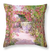 A Rose Arbor And Old Well, Venice Throw Pillow