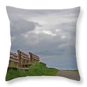 A Row Of Benches In Gloucester Ma Throw Pillow