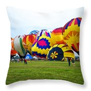 A Row Of Hot Air Balloons Left Side Throw Pillow