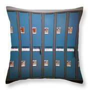 A Row Of Lockers In A School Hallway Throw Pillow