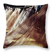 A Row Of Mosquito Netting Over Sleeping Throw Pillow