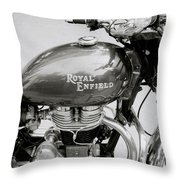 A Royal Enfield Motorbike Throw Pillow