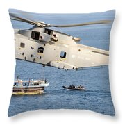 A Royal Navy Merlin Helicopter  Throw Pillow