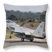 A Royal Saudi Air Force F-15c Landing Throw Pillow