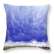 A Rural Nebraska Highway And Magnificent Sky Throw Pillow