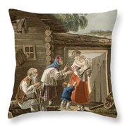 A Russian Peasant Family, 1823 Throw Pillow