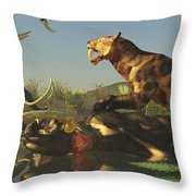 A Saber Tooth Cat Attacks A Woolly Throw Pillow