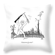 A Safari Hunter Runs Toward His Wife Holding Throw Pillow