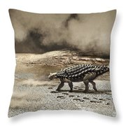 A Saichania Chulsanensis Dinosaur Throw Pillow by Roman Garcia Mora