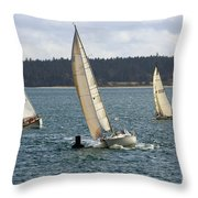 A Sailing Yacht Rounds A Buoy In A Close Sailing Race Throw Pillow