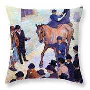 A Sale At Tattersalls, 1911 Throw Pillow by Robert Polhill Bevan