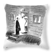A Salesman Comes To The Door Of A Disgruntled Throw Pillow