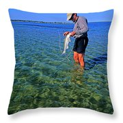 A Salt Water Fly Fisherman Catches Throw Pillow