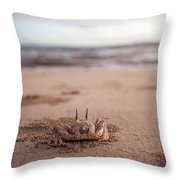 A Sand Crab Looks Out Over The Andaman Throw Pillow