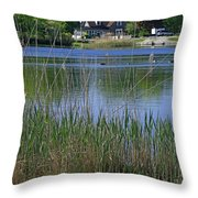 A Scenic View Of Round Pond  At The United States Military Academy Throw Pillow