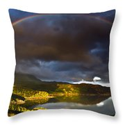 A Scottish Highland Rainbow Kylesku Throw Pillow by John Farnan