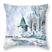 A Seagull In Winter In Lindau Throw Pillow