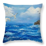A Seagull's View George's Head Kilkee Co. Clare Throw Pillow