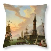 A Seaport Throw Pillow