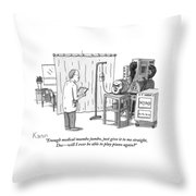 A Severed Head Is Seen In A Hospital Talking Throw Pillow by Zachary Kanin