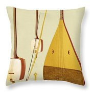 A Shamisen, A Kokyu And A Biwa Throw Pillow
