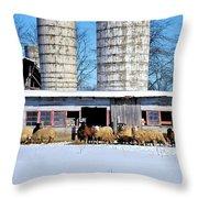 A Sheepish Winter's Day Throw Pillow