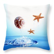 A Shell And Two Starfish Floating Throw Pillow
