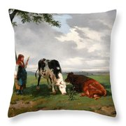 A Shepherdess With A Goat And Two Cows In A Meadow Throw Pillow